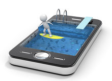 El practicar surf con su teléfono móvil. 3D poco ch humano Foto de archivo