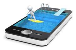El practicar surf con su teléfono elegante. Fotografía de archivo libre de regalías
