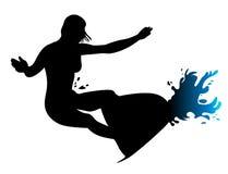 El practicar surf de la muchacha ilustración del vector