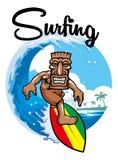El practicar surf de Tiki Fotografía de archivo