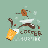 El practicar surf del café stock de ilustración