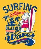 El practicar surf del mono de Baja California Imagen de archivo libre de regalías