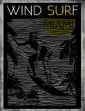 El practicar surf del viento de Miami Beach libre illustration