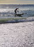 El practicar surf en Barcelona Fotografía de archivo libre de regalías