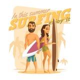 El practicar surf en este verano Goce de él Fotografía de archivo