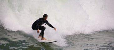 El practicar surf en la playa imperial California Foto de archivo libre de regalías