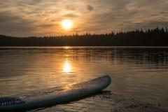 El practicar surf en Maine en la puesta del sol fotos de archivo