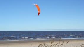 El practicar surf en el mar con un paracaídas rojo en el fuerte viento y las ondas Kitesurfing almacen de video