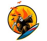 El practicar surf severo en la llama stock de ilustración