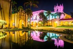 The El Prado Restaurant and Lily Pond at night in Balboa Park  Royalty Free Stock Photo