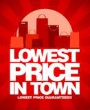 El precio bajo en diseño de la venta de la ciudad. Imagen de archivo