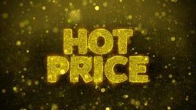 El precio caliente desea la tarjeta de felicitaciones, invitación, fuego artificial de la celebración