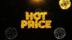 El precio caliente desea la tarjeta de felicitaciones, invitación, fuego artificial de la celebración colocado