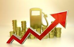 El precio del combustible que se alza Imagen de archivo libre de regalías