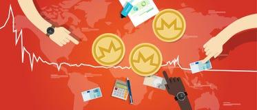 El precio virtual digital del valor de intercambio de la disminución de la moneda de Monero abajo traza rojo Foto de archivo libre de regalías