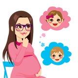 El preguntarse de la mujer embarazada Fotos de archivo