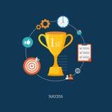 El premio del ganador con los iconos Imagen de archivo libre de regalías