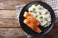 El prendedero de color salmón esmaltado con arroz adorna el primer top horizontal Foto de archivo libre de regalías
