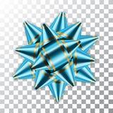 El presente brillante del regalo de la decoración del satén del color del arco de la cinta 3d de la decoración del paquete azul d ilustración del vector
