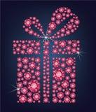 El presente del regalo compuso muchos diamantes de rubíes en el fondo negro libre illustration