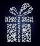 El presente del regalo compuso muchos diamantes en el blac stock de ilustración