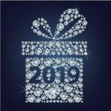 El presente del regalo con 2019 compuso muchos diamantes stock de ilustración