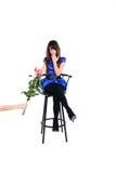Modelo adolescente con las rosas Imagenes de archivo
