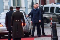 El presidente de Islandia Gudni Jouhannesson llega a la visita oficial en Letonia Castillo de Riga, Riga fotos de archivo libres de regalías