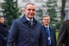 El presidente de Islandia Gudni Jouhannesson llega a la visita oficial en Letonia Castillo de Riga, Riga fotografía de archivo