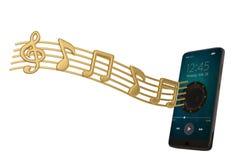 El Presidente en smartphone y música observa concepto audio illustrat 3d stock de ilustración