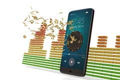 El Presidente en smartphone y música observa concepto audio illustrat 3d ilustración del vector