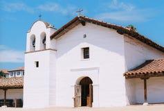 El Presidio, Santa Barbara CA (film image). Adobe building with tile roof, Santa Barbara, CA Royalty Free Stock Images