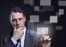 El presionar del hombre de negocios Foto de archivo libre de regalías