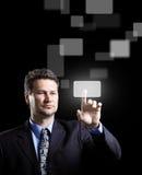 El presionar del hombre de negocios Fotografía de archivo