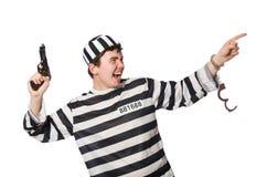 El preso aislado en el fondo blanco imagenes de archivo