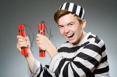 El preso divertido en concepto de la prisión imagen de archivo libre de regalías