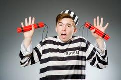 El preso divertido en concepto de la prisión imagen de archivo