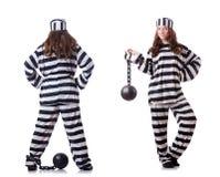 El preso en uniforme rayado en blanco fotos de archivo