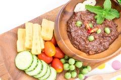 El prik del nam de la cocina o la goma tailandés del chile se mezcla fotos de archivo