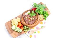 El prik del nam de la cocina o la goma tailandés del chile se mezcla imagen de archivo