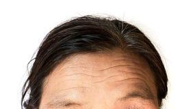 El primer arruga en mujer mayor de la frente con el fondo blanco imagen de archivo