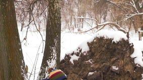 El primer, cámara lenta, hombre indio en vidrios monta el oscilación en parque en invierno almacen de video