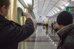 El primer d?a de la estaci?n de metro Mezhdunarodnaya imagen de archivo libre de regalías