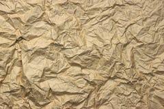 El primer de Brown de oro áspero arrugó textura de papel de empaquetado Fotografía de archivo libre de regalías