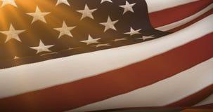 El primer de la bandera americana de los E.E.U.U., barras y estrellas, los Estados Unidos de América, en la puesta del sol, con e ilustración del vector