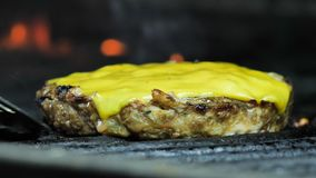El primer de la chuleta del queso que es asada a la parrilla, después de la chuleta se toma con una espátula metrajes
