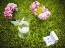 El primer de los anillos de bodas y la vela blanca mienten en hierba verde concepto de la boda Fotos de archivo