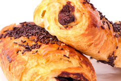 Chocolate de los Croissants Fotografía de archivo