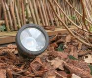 El primer de un LED graden la lámpara, pegada en un macizo de flores Foto de archivo