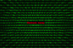 El primer del código binario, con los rayos radiales del ` del dinero electrónico del ` de la inscripción diverge de la inscripci imagen de archivo